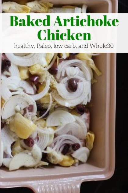 Baked Artichoke Chicken couldn't be easier to prepare and is packed with artichokes, onions, and Kalamata olives for a fast, healthy dinner.