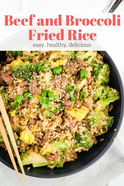 Beef and Broccoli Fried Rice made with lean ground beef, brown rice, and fresh broccoli is a twenty minute dinner that's healthy and delicious.