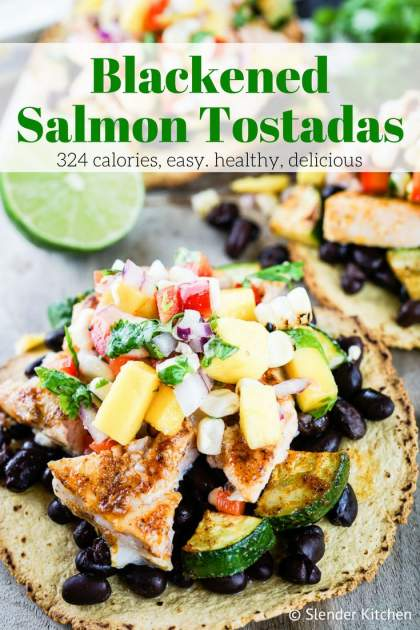 Blackened Salmon Tostadas with Mango Corn Salsa are a healthy dinner that comes together in under 20 minutes with under 350 calories.