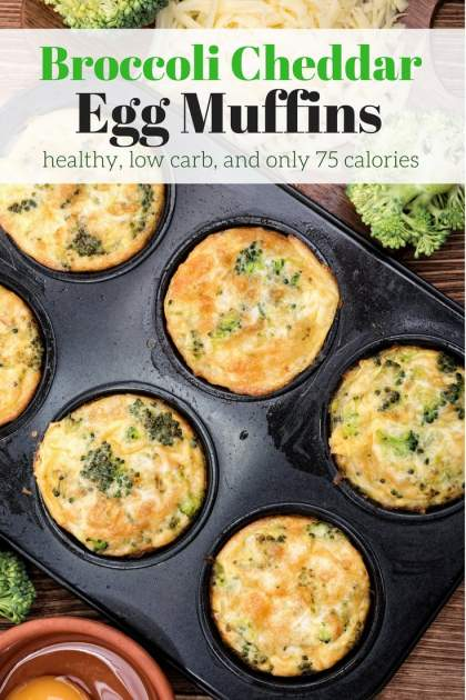 Broccoli Cheddar Egg Muffins are packed with protein for a healthy, portable breakfast or snack that will keep you going all morning.