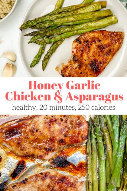 A simple and healthy Honey Garlic Chicken and Asparagus made on a sheet pan that takes less than 10 minutes to cook will be a hit with the whole family.