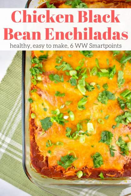 Chicken and Black Bean Enchiladas with an easy homemade enchilada sauce are filling, healthy. and so tasty. These enchiladas are filled with chicken, black beans, corn, onion, and cilantro and covered with a spicy enchilada sauce and plenty of cheese. Just 350 calories and 6 Weight Watchers Freestyle SmartPoints.