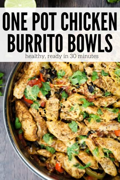 Chicken Burrito Bowls packed with chicken, beans, rice, peppers, onions, and tomatoes that is made in one pot and ready in 30 minutes.