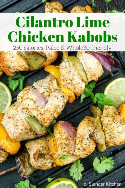 Cilantro Lime Chicken Kabobs are full of bright flavors for a healthy, quick dinner that's Paleo, Whole30, and low carb friendly.