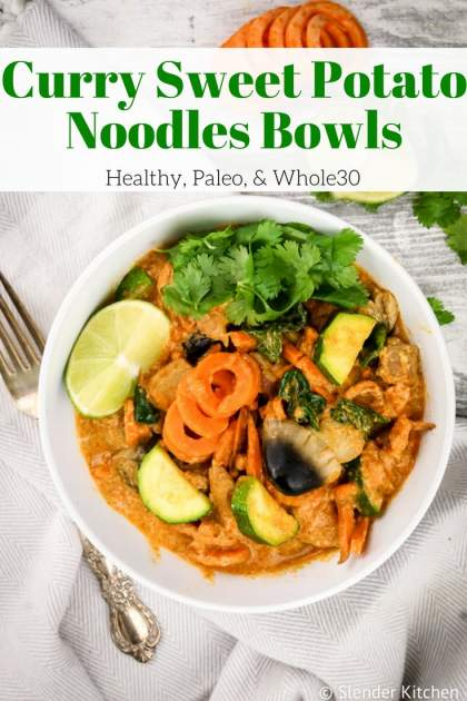 Curry Sweet Potato Noodles packed with fresh veggies, coconut milk, sweet potato noodles, and chicken or tofu make a healthy dinner.