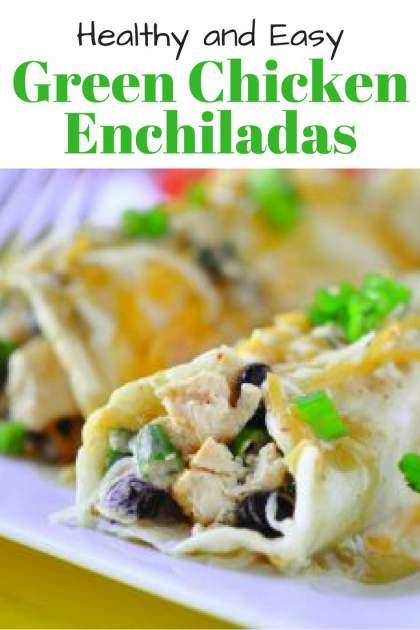Easy Green Chicken Enchiladas made with cooked chicken breast, black beans, and a shortcut creamy green enchilada sauce couldn't be easier.