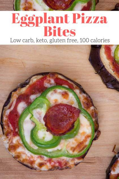 Eggplant Pizza Bites are the perfect low carb way to enjoy pizza. With a roasted eggplant crust, marinara sauce, mozzarella cheese, and any topping you like - these veggie pizzas won't disappoint.