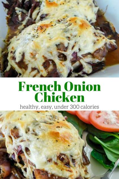 French Onion Chicken Breast is a healthy spin on French Onion soup with caramelized onions, thyme, and melted cheese all on a lean chicken breast.