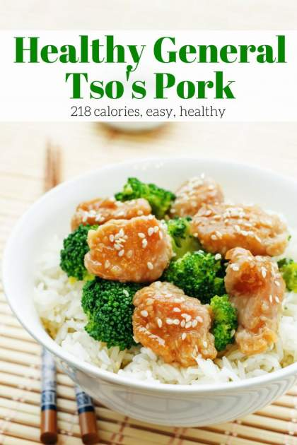 General Tso's Pork is a healthy, easy to make version of one our favorite Chinese take out dishes. It's the perfect combination of sweet and spicy and can be made in under 25 minutes.