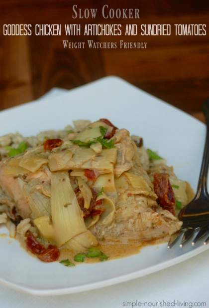 Slow Cooker Goddess Chicken and Artichokes with Sundried Tomatoes is made with just four ingredients and makes the most delicious, healthy dinner.