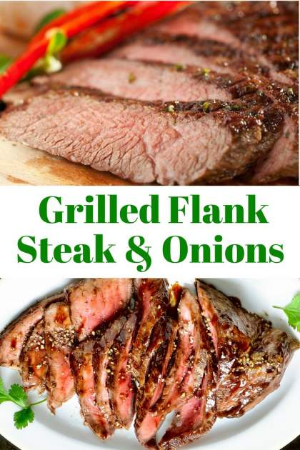 Grilled Flank Steak with Red Onions made with a simple, homemade marinade and delicious, grilled onions for an easy, healthy dinner.