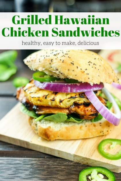 Grilled Hawaiian Chicken Sandwiches with pineapple barbecue sauce, grilled pineapple, red onion, and jalapeno couldn't be more delicious.