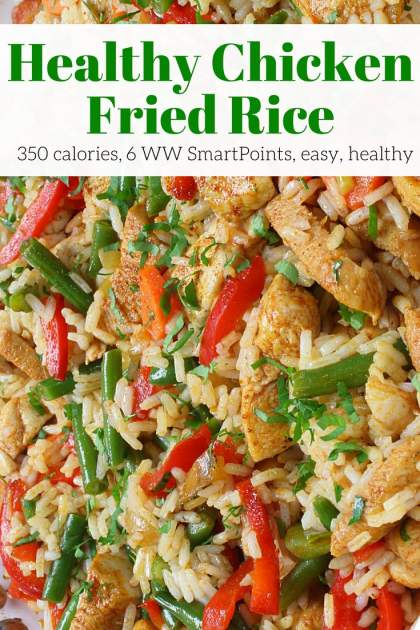 Healthy Chicken Fried Rice that's packed with veggies and better than take out. Make this quick and easy gluten free and Weight Watchers friendly meal to satisfy your Chinese food cravings.