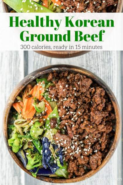 Healthy Korean Ground Beef with Vegetables comes together in less than 20 minutes and has all the flavors of your favorite Korean beef without the work.