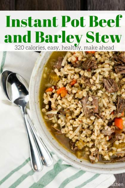 Instant Pot Beef and Barley Stew is a healthy and hearty soup that's packed with tender beef, carrot, celery, onion, and barley all in a rich broth. It's freezer friendly and is made in under an hour with the help of the Instant Pot.