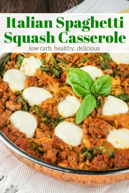 Italian Spaghetti Squash Casserole is a healthy and filling low carb dish packed with a homemade bolognese, spaghetti squash, and fresh mozzarella.