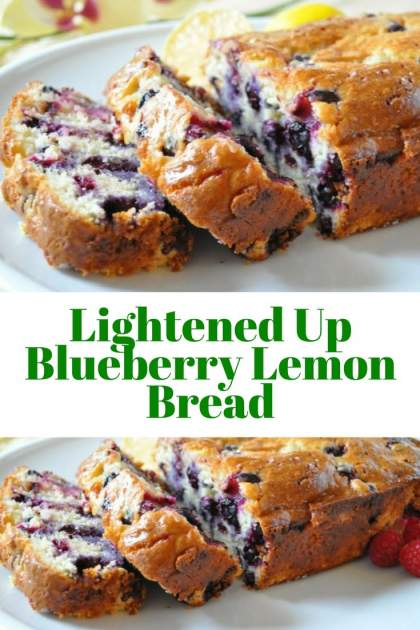 Lightened Up Lemon Blueberry Bread packed with fresh blueberries, cream cheese, and plenty of lemon flavor for under 200 calories.