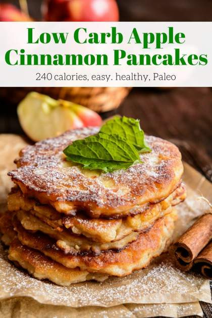 Low Carb Cinnamon Apple Pancakes made with coconut flour and applesauce make a delicious, Paleo friendly pancake that you will love.