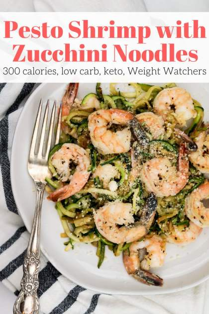 Pesto Shrimp with Zucchini Noodles is a low carb/keto friendly dish that has all the flavor of your favorite pesto pasta without the calories, carbs, and fat. Made with a quick homemade basil pesto, this dish comes together in no time and couldn't be tastier.
