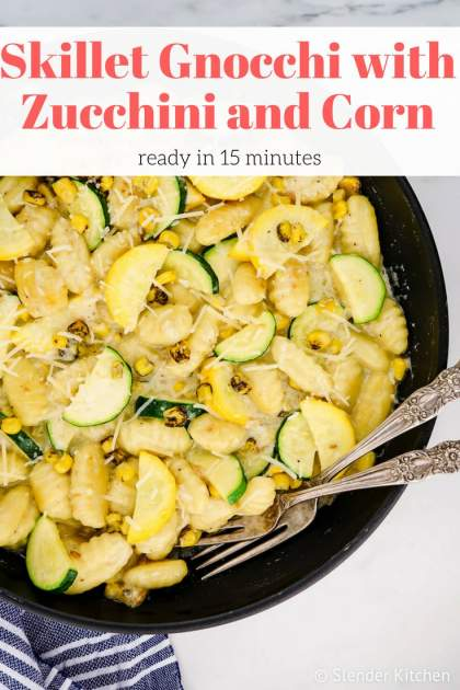 Potato Gnocchi with Zucchini and Corn is in an easy Parmesan garlic sauce is the perfect fifteen-minute weeknight meal. Enjoy it as a meatless meal or add chicken or shrimp for extra protein.