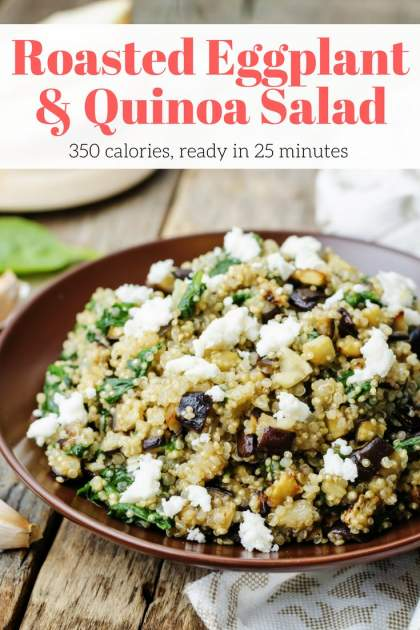 Roasted Eggplant and Quinoa Salad with Feta makes a delicious vegetarian meal, side dish, or salad. Made with quinoa, tender roasted eggplant, spinach, parsley, and a sweet paprika vinaigrette for just 350 calories.