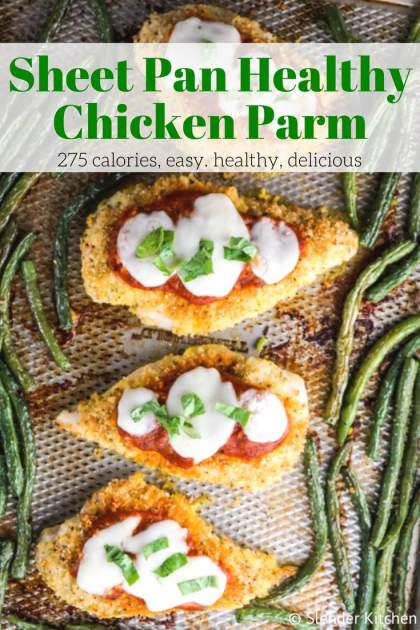 Sheet Pan Healthy Chicken Parm is a quick weeknight meal that is ready in less than 30 minutes and full of all the classic flavors, just healthier!