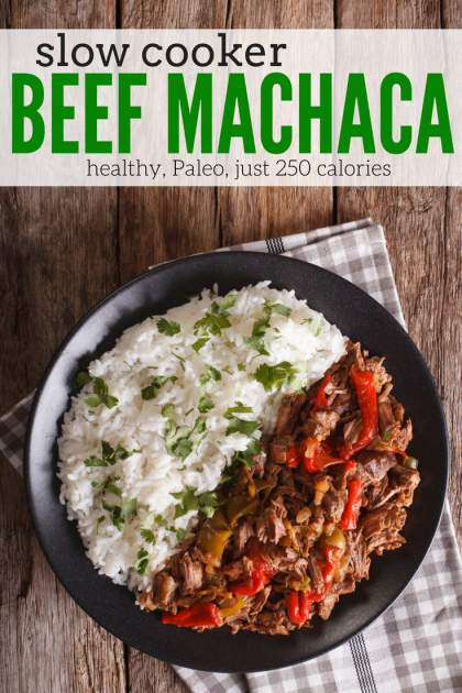 Slow Cooker Beef Machaca is a healthy beef dish with bell peppers, tomatoes, and just enough spice that's great for tacos, bowls, and more.