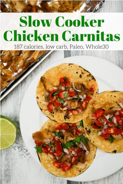Slow Cooker Chicken Carnitas couldn't be easier to prepare and make the best chicken taco filling that's healthy and full of flavor.