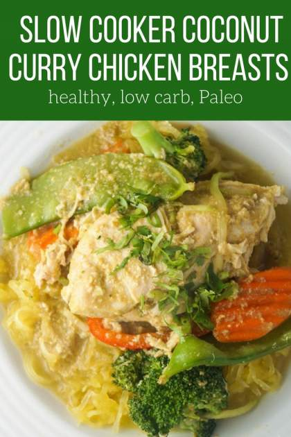 These healthy slow cooker Coconut Curry Chicken Breasts require just six ingredients and are low carb, Paleo, and Whole30 friendly.