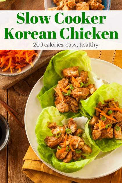 Slow Cooker Korean Chicken packed with sweet and spicy flavors is perfect for a healthy and easy dinner. Stuff them into lettuce wraps, serve it over rice, or make Asian style tacos for a dinner you will crave.