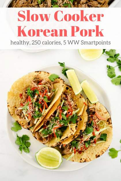Slow Cooker Korean Pork is sweet, spicy, and incredibly easy to make. Use it in tacos, sandwiches, salads, and rice bowls for a delicious dinner with plenty of leftovers for lunches. This healthy dish will quickly become a family favorite.