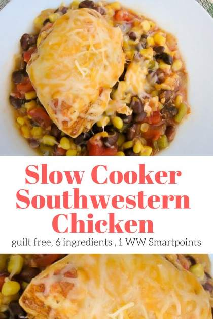 Slow Cooker Cheesy Southwestern Chicken made with just six ingredients is an easy and healthy dinner your whole family will love. This dump and go slow cooker recipe is a complete meal and has just 400 calories and 1 Weight Watchers Freestyle Smartpoints.