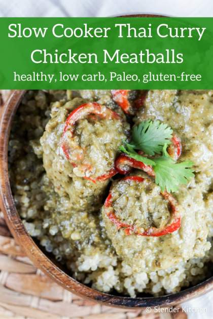 Slow Cooker Thai Curry Chicken Meatballs