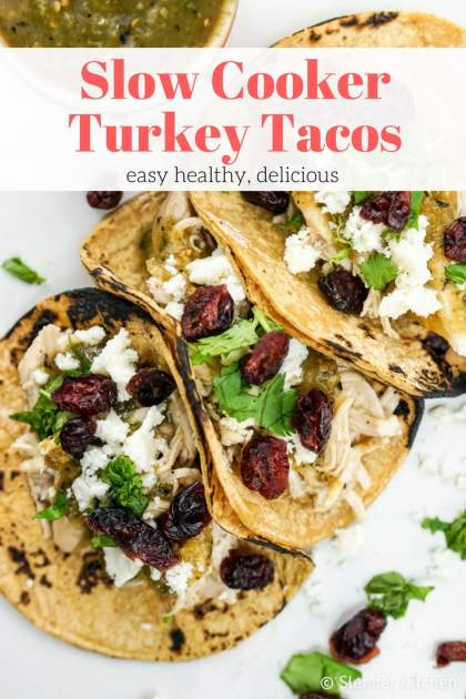 Slow Cooker Turkey Tacos with salsa verde and cranberries are the easiest 5 ingredient tacos and couldn't be more delicious for a quick dinner.