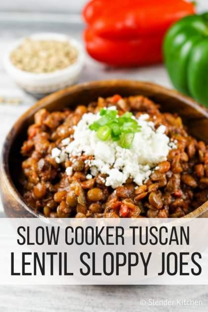 Slow Cooker Tuscan Lentil Sloppy Joes