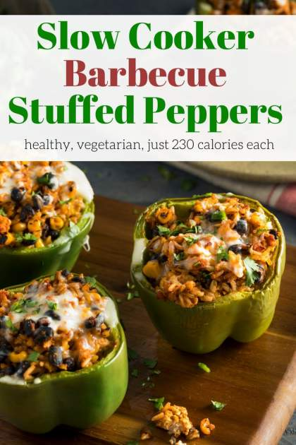 Slow Cooker Vegetarian Barbecue Stuffed Peppers packed with brown rice, black beans, corn, barbecue sauce, and cheddar cheese make a healthy, filling meal.