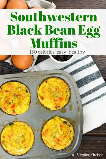 Southwest Black Bean Egg Muffins packed with eggs, black beans, red pepper, onion, and a touch of jalapeno for a spicy and hearty egg muffin that's only 75 calories! Make them on the weekend and eat them all week for breakfast.