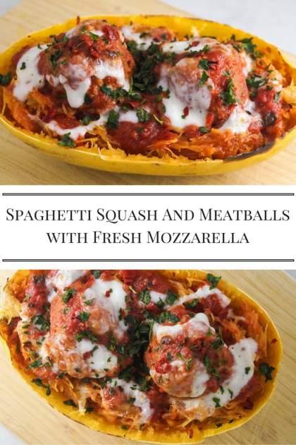 Low Carb Spaghetti Squash and Meatballs with Fresh Mozzarella