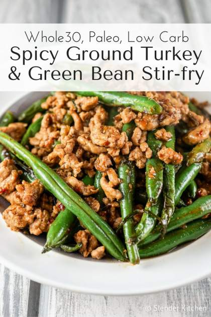 Spicy Ground Turkey and Green Bean Stir-fry is a Paleo and low carb dish that is packed with flavor and comes together in 15 minutes.