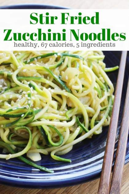 Stir Fried Zucchini Noodles with a simple teriyaki sauce make the best healthy Asian side dish for under 100 calories.