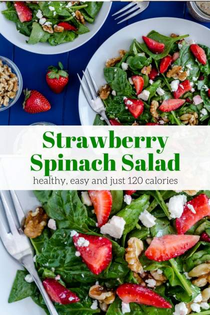 Strawberry Spinach Salad is full of fresh spinach, strawberries, feta cheese, walnuts, and a healthy homemade poppy seed dressing.