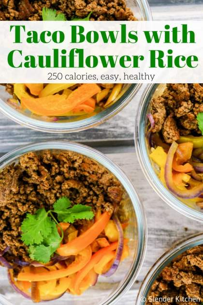 Meal Prep Taco Bowls with Cauliflower Rice can be made in under 20 minutes are a low carb, Whole30, and Plaeo friendly lunch that is packed with flavor. Plus it's zero Freeestyle SmartPoints and only 250 calories.