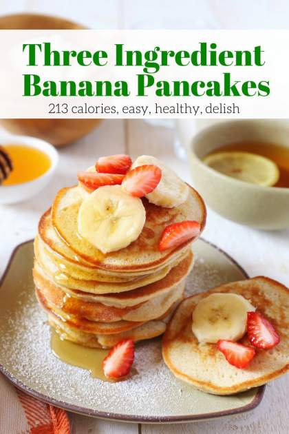 Three Ingredient Banana and Egg Pancakes come together in less than 10 minutes with three simple ingredients - eggs, bananas, and regular or paleo flour. They are delicious, good for you, and a recipe you will make again and again.