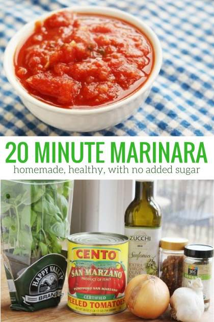 Twenty Minute Homemade Marinara Sauce tastes so much better than store bought and is packed with natural ingredients and no added sugar.