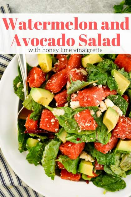 Watermelon and Avocado Salad with Honey Lime Vinaigrette makes a refreshing and light summer salad that's ready in less than 10 minutes.