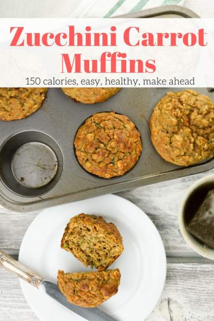 Zucchini Carrot Muffins are a healthy way to enjoy your morning muffin packed with veggies, whole grains, and without any added refined sugar. These muffins are just 150 calories each and taste amazing.