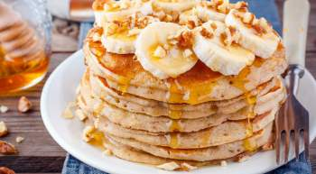 Banana Oat Pancakes made with fresh bananas, oatmeal, and cinnamon make a healthy and filling breakfast that you can feel good about eating.
