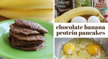 Chocolate Banana Protein Pancakes