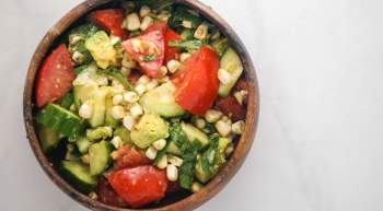 Tomato, Cucumber, Corn, and Avocado Salad