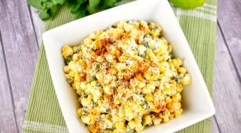 Healthy Mexican Street Corn Salad made with sweet corn, mayo, jalapenos, Cotija cheese, and lime juice is packed with tons of flavor and tastes like the traditional Mexican street food but lightened up.